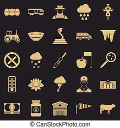 Tillage icons set, simple style - Tillage icons set. Simple...