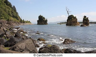 Tillamook Bay in Garibaldi Oregon Rocky Beach at Lowtide...