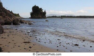 Tillamook Bay in Garibaldi Oregon Sandy Beach at Lowtide...