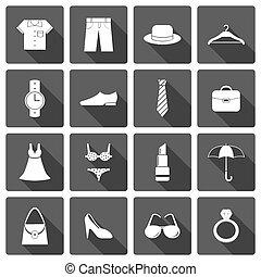 tillbehör, kläder, sätta, skor, ikonen