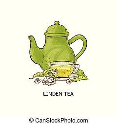 tilleul, croquis, tasse, isolated., thé, illustration, vecteur, fleurs, théière