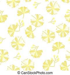 tilleul, fleur, modèle, seamless, main, vecteur, dessiné