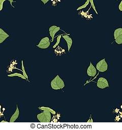 tilleul, wallpaper., naturel, tissu, sprigs, modèle, feuilles, seamless, illustration, main, arrière-plan., vecteur, noir, impression, médicinal, dessiné, fleurir, fleurs, botanique, plant., toile de fond