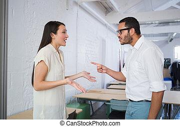 tillfällig affärsverksamhet, kolleger, in, argument