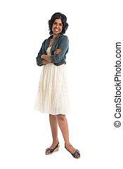tillfällig, indisk, kvinnlig, med, kjol