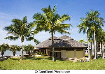 tillflykt, strand, byggnad, tropisk, brunei