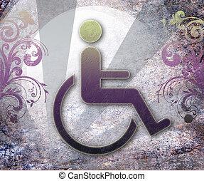 tillgänglighet, symbol, handikapp