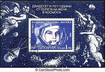 tillgiven, 1988:, cirka, flykt, stämpel, bulgarien, kvinna...