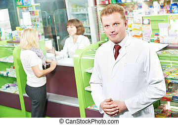 tillidsfuld, apotek, apotekeren, mand, ind, drugstore