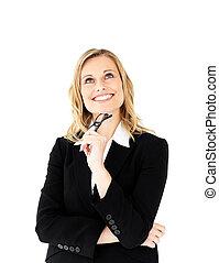 tillidsfuld, holde glas, smil, kamera, businesswoman