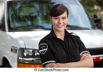 tillidsfuld, kvinde, unge, paramedic