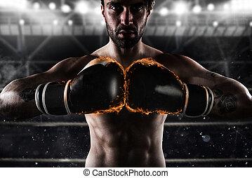 tillitsfull, boxare, med, hetsande, boxning handske