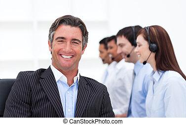 tillitsfull, centrera, chef, presenterande, ringa