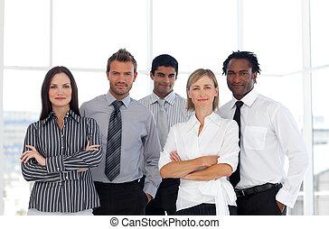 tillitsfull, folk, grupp, affär