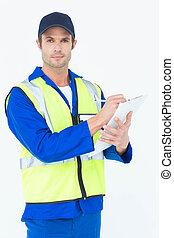 tillitsfull, noteringen, skrivplatta, övervakare, skrift