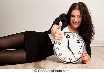 tillitsfull, professionell, ung, klocka