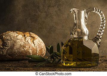 tillkommande obefläckad olivgrön olja, och, bread