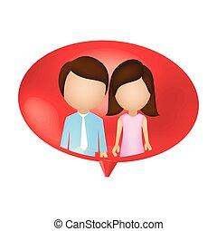 tillsammans, par, bubbla, insida, pratstund