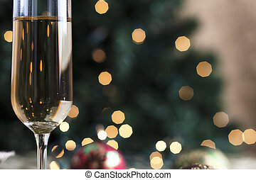 tillsluta, av, champagne tvärflöjt