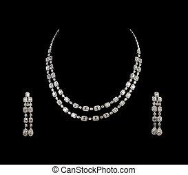 tillsluta, av, diamant, halsband