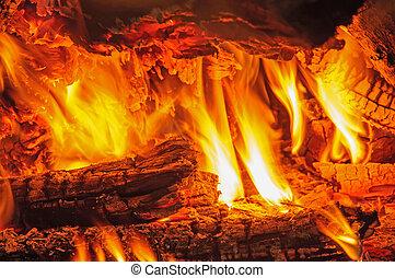 tillsluta, av, eld, och, flammor, in, den