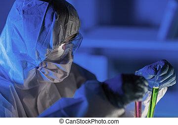 tillsluta, av, forskare, tillverkning, pröva, in, laboratorium