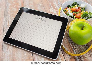 tillsluta, av, kost, plan, på, skrivblock persondator, och,...
