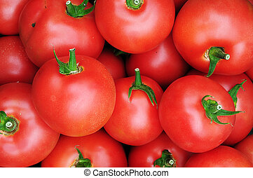 tillsluta, av, många, frisk, röda tomater