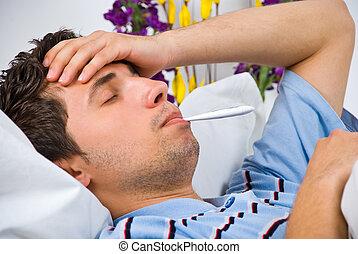 tillsluta, av, man, med, influensa