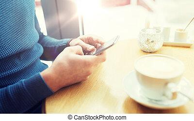 tillsluta, av, man, med, smartphones, hos, cafe