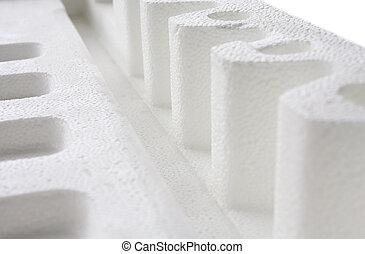 tillsluta, av, polystyren, stoppning, för, produkt,...