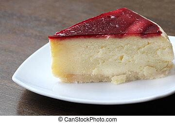tillsluta, frisk, tårta, på, bord