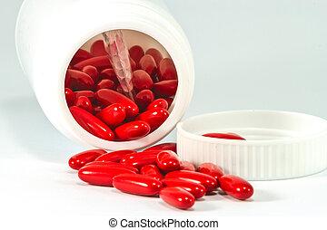 tillsluta, medicin, röd, biljard, flytande, ute, av, den, vit, flaska