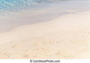 tillsluta, sand, med, suddig, hav, sky, /, paradis, tropical strand, bakgrund, /, sommar dag