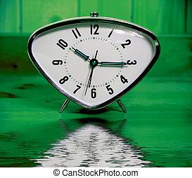 tillsluta, synhåll, av, den, gammal, väckarklocka