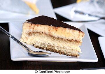 tillsluta, tiramisu, tårta, på, bord