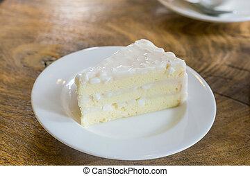 tillsluta, vit, tårta, på, bord