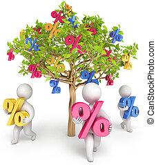 tillväxt, affär, 3, render, folk