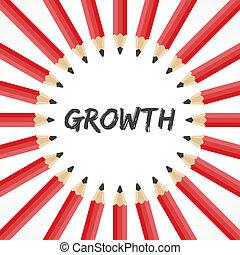 tillväxt, blyertspenna, bakgrund, ord