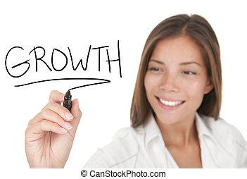 tillväxt, in, affär