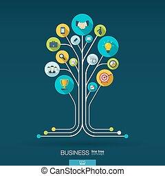 tillväxt, träd, begrepp, för, affär, kommunikation, marknadsföra