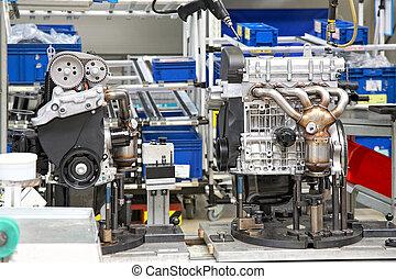tillverkning, av, bil motor