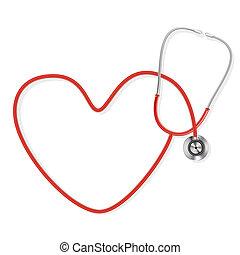 tillverkning, form, stetoskop, hjärta