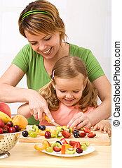 tillverkning, fruktsallad, är, hälsosam, och, nöje