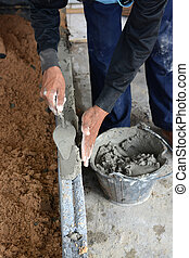 tillverkning, murslev, murverk, konstruktion, murare, mortel, arbetare, murare, cement