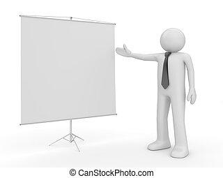 tillverkning, presentation, man