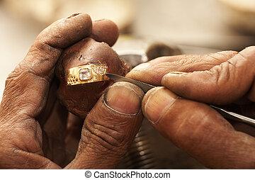 tillverkning, ringer, juvelerare