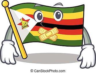 tillverkning, stil, tecken, tyst, tecknad film, zimbabwe flagg, maskot, gest