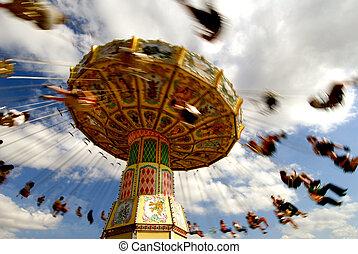 Tilt a whirl! - Tilt a whirl swing ride in full motion