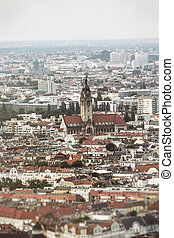tilt and shift shoot of a church in berlin, aerial view